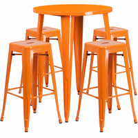 Flash Furniture 30'' Round Orange Metal Indoor-Outdoor Bar Table Set with 4 Square Seat Backless Barstools