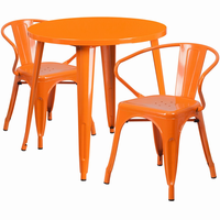 Flash Furniture 30'' Round Orange Metal Indoor-Outdoor Table Set with 2 Arm Chairs