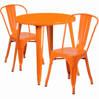 Flash Furniture 30'' Round Orange Metal Indoor-Outdoor Table Set with 2 Cafe Chairs