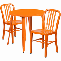 Flash Furniture 30'' Round Orange Metal Indoor-Outdoor Table Set with 2 Vertical Slat Back Chairs