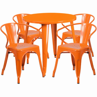 Flash Furniture 30'' Round Orange Metal Indoor-Outdoor Table Set with 4 Arm Chairs