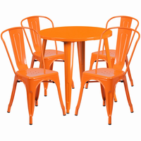 Flash Furniture 30'' Round Orange Metal Indoor-Outdoor Table Set with 4 Cafe Chairs