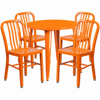 Flash Furniture 30'' Round Orange Metal Indoor-Outdoor Table Set with 4 Vertical Slat Back Chairs