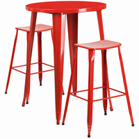 Flash Furniture 30'' Round Red Metal Indoor-Outdoor Bar Table Set with 2 Backless Saddle Seat Barstools