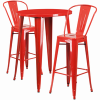 Flash Furniture 30'' Round Red Metal Indoor-Outdoor Bar Table Set with 2 Cafe Barstools