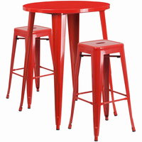 Flash Furniture 30'' Round Red Metal Indoor-Outdoor Bar Table Set with 2 Square Seat Backless Barstools