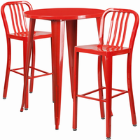 Flash Furniture 30'' Round Red Metal Indoor-Outdoor Bar Table Set with 2 Vertical Slat Back Barstools