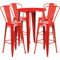 Flash Furniture 30'' Round Red Metal Indoor-Outdoor Bar Table Set with 4 Cafe Barstools