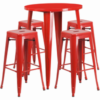 Flash Furniture 30'' Round Red Metal Indoor-Outdoor Bar Table Set with 4 Square Seat Backless Barstools