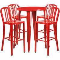 Flash Furniture 30'' Round Red Metal Indoor-Outdoor Bar Table Set with 4 Vertical Slat Back Barstools