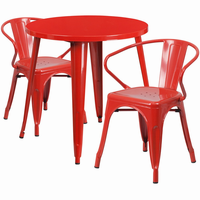 Flash Furniture 30'' Round Red Metal Indoor-Outdoor Table Set with 2 Arm Chairs