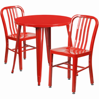 Flash Furniture 30'' Round Red Metal Indoor-Outdoor Table Set with 2 Vertical Slat Back Chairs