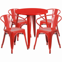 Flash Furniture 30'' Round Red Metal Indoor-Outdoor Table Set with 4 Arm Chairs