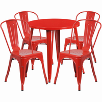 Flash Furniture 30'' Round Red Metal Indoor-Outdoor Table Set with 4 Cafe Chairs