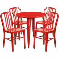 Flash Furniture 30'' Round Red Metal Indoor-Outdoor Table Set with 4 Vertical Slat Back Chairs