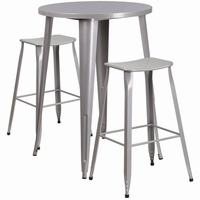 Flash Furniture 30'' Round Silver Metal Indoor-Outdoor Bar Table Set with 2 Backless Saddle Seat Barstools