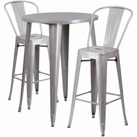 Flash Furniture 30'' Round Silver Metal Indoor-Outdoor Bar Table Set with 2 Cafe Barstools
