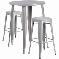 Flash Furniture 30'' Round Silver Metal Indoor-Outdoor Bar Table Set with 2 Square Seat Backless Barstools