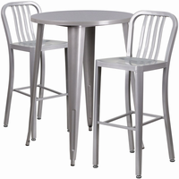 Flash Furniture 30'' Round Silver Metal Indoor-Outdoor Bar Table Set with 2 Vertical Slat Back Barstools