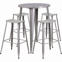Flash Furniture 30'' Round Silver Metal Indoor-Outdoor Bar Table Set with 4 Backless Saddle Seat Barstools