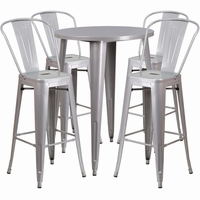Flash Furniture 30'' Round Silver Metal Indoor-Outdoor Bar Table Set with 4 Cafe Barstools
