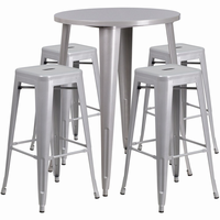 Flash Furniture 30'' Round Silver Metal Indoor-Outdoor Bar Table Set with 4 Square Seat Backless Barstools