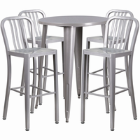 Flash Furniture 30'' Round Silver Metal Indoor-Outdoor Bar Table Set with 4 Vertical Slat Back Barstools