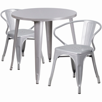 Flash Furniture 30'' Round Silver Metal Indoor-Outdoor Table Set with 2 Arm Chairs