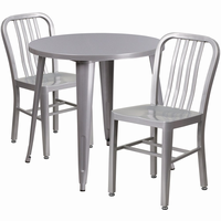 Flash Furniture 30'' Round Silver Metal Indoor-Outdoor Table Set with 2 Vertical Slat Back Chairs