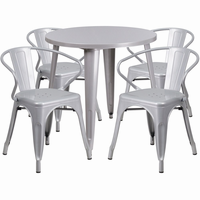 Flash Furniture 30'' Round Silver Metal Indoor-Outdoor Table Set with 4 Arm Chairs