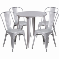 Flash Furniture 30'' Round Silver Metal Indoor-Outdoor Table Set with 4 Cafe Chairs