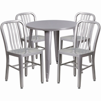 Flash Furniture 30'' Round Silver Metal Indoor-Outdoor Table Set with 4 Vertical Slat Back Chairs