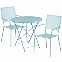 Flash Furniture 30'' Round Sky Blue Indoor-Outdoor Steel Folding Patio Table Set with 2 Square Back Chairs