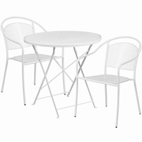 Flash Furniture 30'' Round White Indoor-Outdoor Steel Folding Patio Table Set with 2 Round Back Chairs