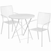 Flash Furniture 30'' Round White Indoor-Outdoor Steel Folding Patio Table Set with 2 Square Back Chairs