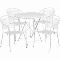 Flash Furniture 30'' Round White Indoor-Outdoor Steel Folding Patio Table Set with 4 Round Back Chairs