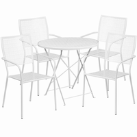 Flash Furniture 30'' Round White Indoor-Outdoor Steel Folding Patio Table Set with 4 Square Back Chairs