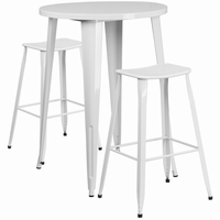 Flash Furniture 30'' Round White Metal Indoor-Outdoor Bar Table Set with 2 Backless Saddle Seat Barstools