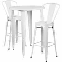 Flash Furniture 30'' Round White Metal Indoor-Outdoor Bar Table Set with 2 Cafe Barstools