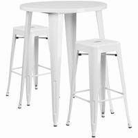 Flash Furniture 30'' Round White Metal Indoor-Outdoor Bar Table Set with 2 Square Seat Backless Barstools