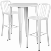 Flash Furniture 30'' Round White Metal Indoor-Outdoor Bar Table Set with 2 Vertical Slat Back Barstools