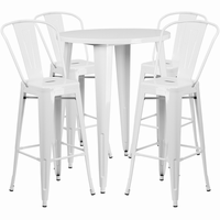 Flash Furniture 30'' Round White Metal Indoor-Outdoor Bar Table Set with 4 Cafe Barstools