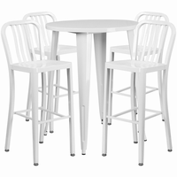 Flash Furniture 30'' Round White Metal Indoor-Outdoor Bar Table Set with 4 Vertical Slat Back Barstools