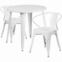 Flash Furniture 30'' Round White Metal Indoor-Outdoor Table Set with 2 Arm Chairs