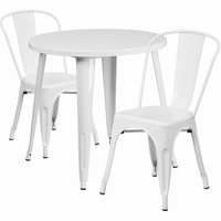 Flash Furniture 30'' Round White Metal Indoor-Outdoor Table Set with 2 Cafe Chairs