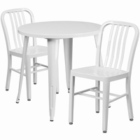 Flash Furniture 30'' Round White Metal Indoor-Outdoor Table Set with 2 Vertical Slat Back Chairs