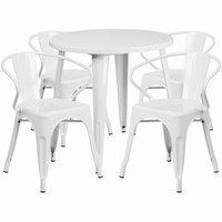 Flash Furniture 30'' Round White Metal Indoor-Outdoor Table Set with 4 Arm Chairs