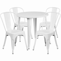 Flash Furniture 30'' Round White Metal Indoor-Outdoor Table Set with 4 Cafe Chairs