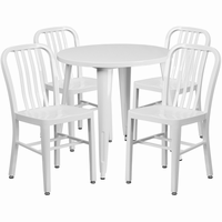 Flash Furniture 30'' Round White Metal Indoor-Outdoor Table Set with 4 Vertical Slat Back Chairs
