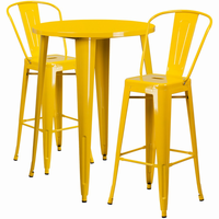 Flash Furniture 30'' Round Yellow Metal Indoor-Outdoor Bar Table Set with 2 Cafe Barstools